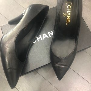 Chanel black leather heels with faux pearl accents